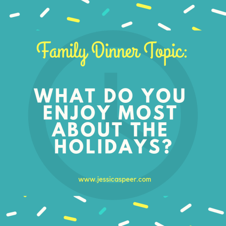 Text that reads: Family Dinner Topic- What do you enjoy most about the holidays?