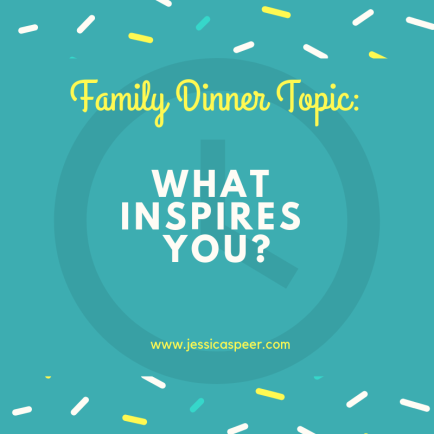 Text reading Family Dinner Topic: What Inspires You?