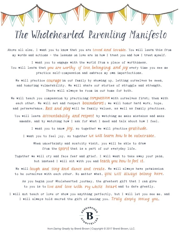 Text of the Wholehearted Parenting Manifesto by Brene Brown