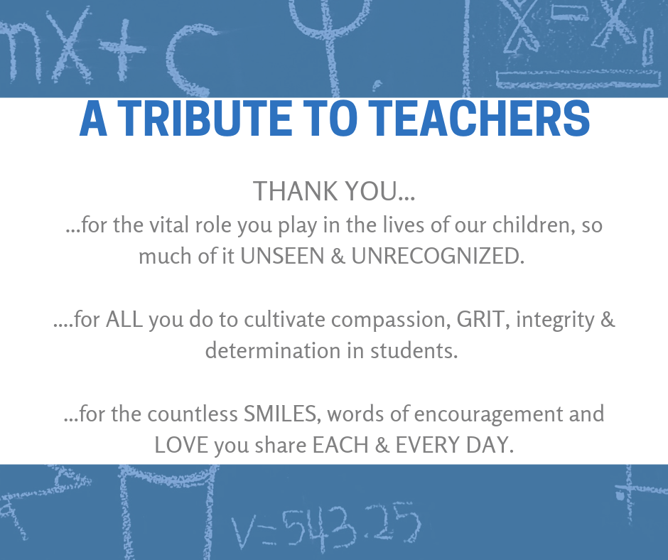 "Graphic written on school chalkboard reading ""a Tribute to Teachers."""