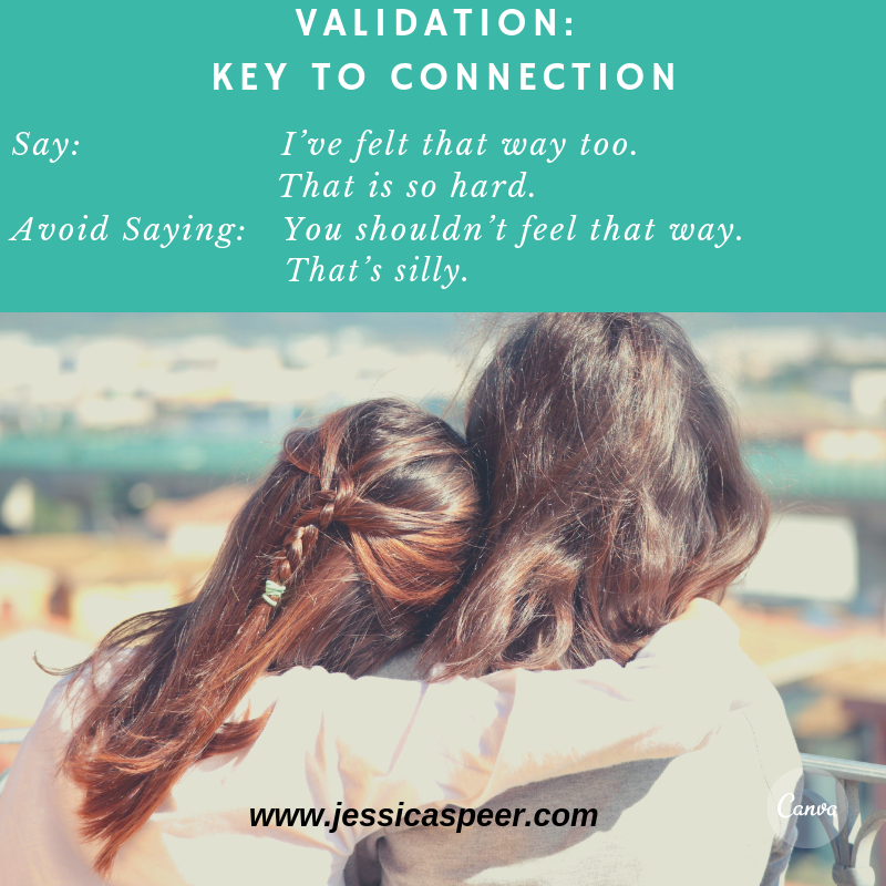 """Image of mother and daughter embracing with the text """"validation - key to connection:"""