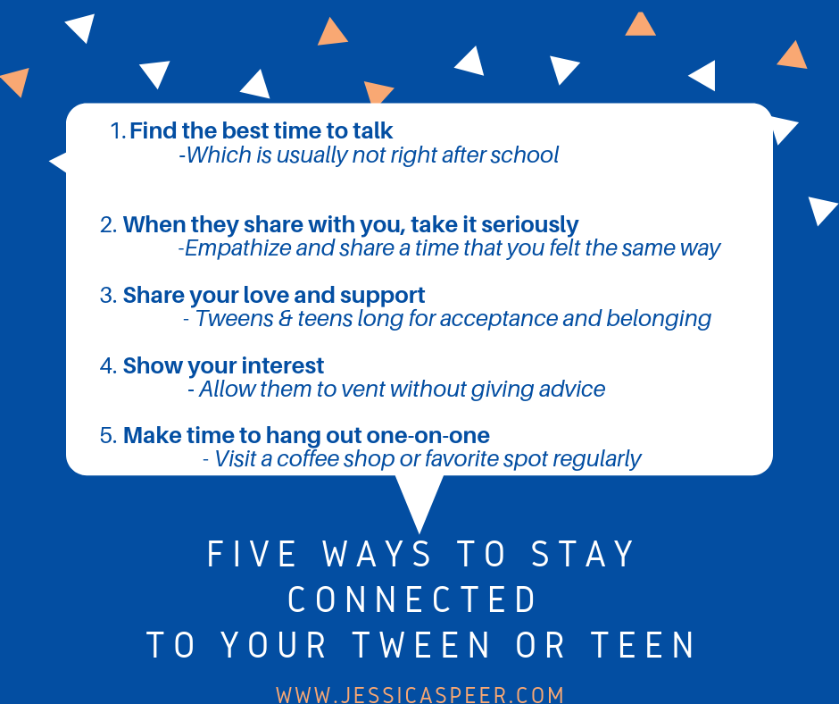 Graphic with list of 5 ways to connect with tweens or teens
